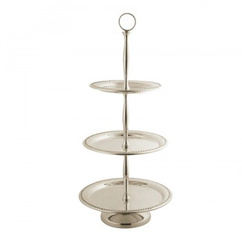 Bead Mirror Stainless Steel Round 3 Tier Serving Stand