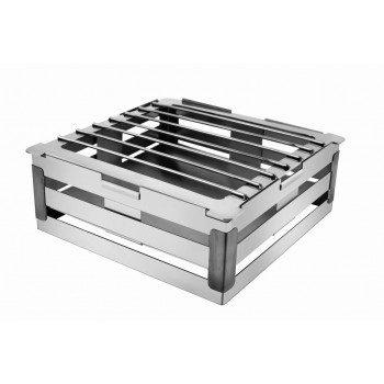 Crate Brushed Stainless Steel and Black Trim Warm Riser with Grill 4in