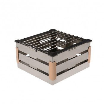Crate Mirror Stainless Steel and Copper Trim Warm Riser with Grill 4in
