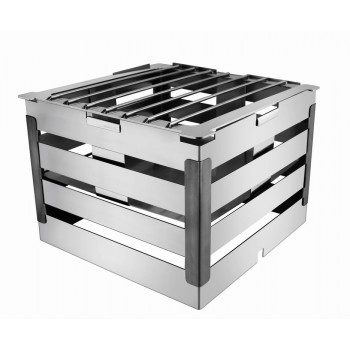 Crate Brushed Stainless Steel and Black Trim Warm Riser with Grill 8in