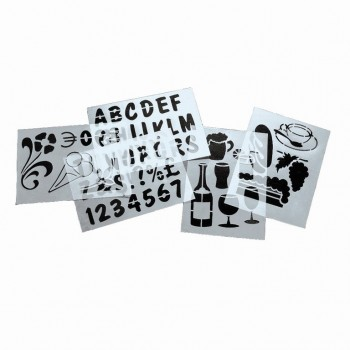 Stencil Art - (Letters, Numbers, Signs & Pictograms) - Set of 5