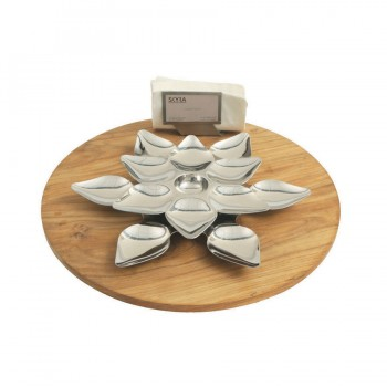 Heritage Mirror Stainless Steel Round Lotus Snack Server Set. Includes Lotus Platter, Napkin Holder and Card Holder