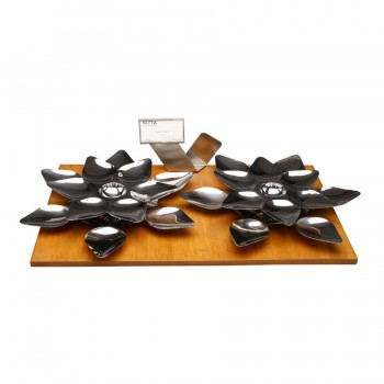 Heritage Mirror Stainless Steel Double Lotus Snack Server Set. Includes Lotus Platter, Napkin Holder and Card Holder