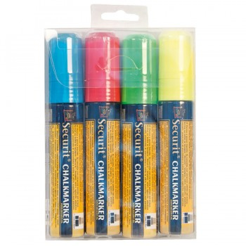 Chalk Marker - Coloured - Large 7-15mm Nib - blue, red, green, white - Set of 4