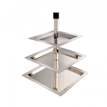 Brooklyn Mirror Stainless Steel Square 3 Tier Serving Stand