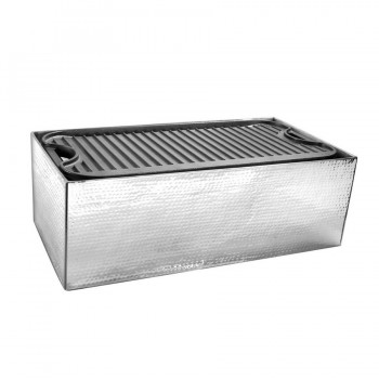 Presidential Hammered Stainless Steel Rectangular Live Griddle Station with Griddle Plate