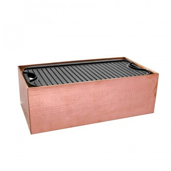 Masala Hammered Copper Finish Rectangular Live Griddle Station with Griddle Plate