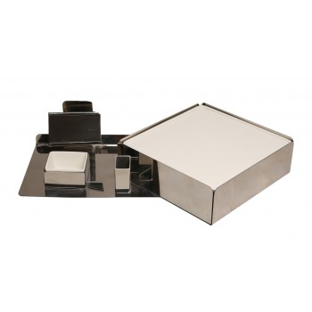 Hot Plate Mirror SS Snack Warmer with Ceramic Platter, Bowl and extra Hot Plate