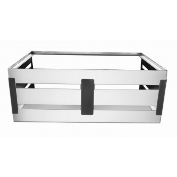 Crate Brushed Stainless Steel and Black Trim Hinged Modular Station Stand