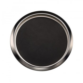 Jeeves Dual Polish Stainless Steel Round Bar Tray w/ Anti-Skid Mat