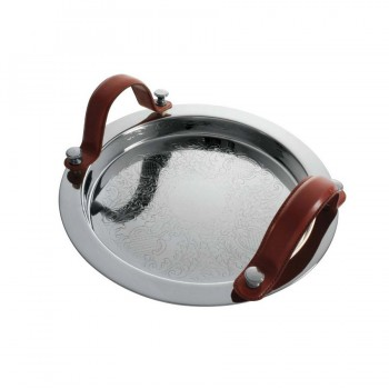 Club Mirror Stainless Steel with Leather Handle Round Tray