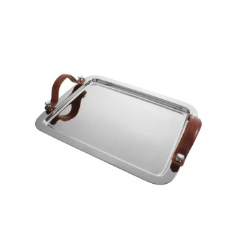 Club Mirror Stainless Steel with Leather Handle Rectangle Tray
