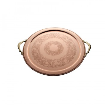 Rose Copper Finish Round Tray with Gold Finish Handle
