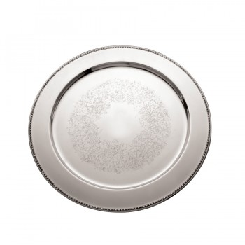 Bead Etched Mirror Stainless Steel Round Charger Plate