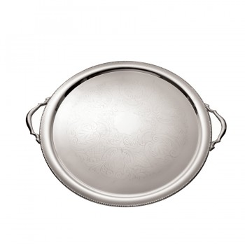 Bead Etched Mirror Stainless Steel Round Tray Bead Mirror Stainless with Handles