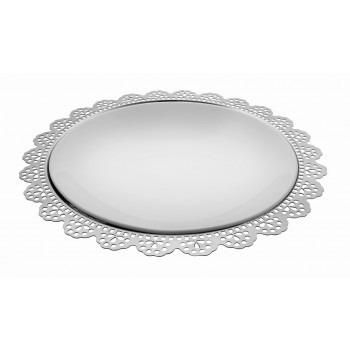 Doily Mirror Stainless Steel Round Charger Plate