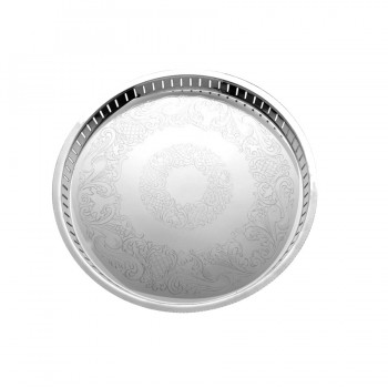 Gallery Etched Mirror Stainless Steel Round Tray