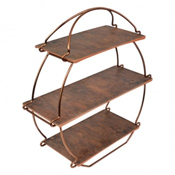 Dalebrook Copper Tea Stand with Rustic Wood Platters