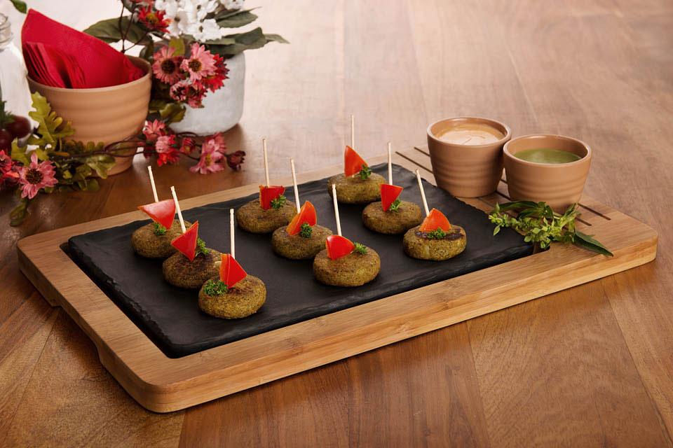 Melamine Bamboo Snack Server